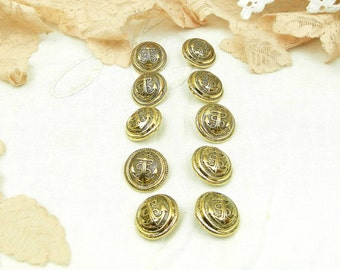 10 Vintage Gold Colored Unused Anchor Buttons  / French Vintage Sewing / Haberdashery / Craft Supplies / Costume / Clothing / Sailor Suit