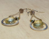 Hand forged Silver Gemstone Earrings. Lemon Quartz and Labradorite Emerald and garnet Silver Drop Dangle Earrings
