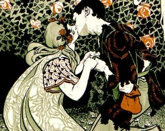 Rare. Lovers Meet Under The Roses. Vintage Art Nouveau Illustration. Art Nouveau Digital Download. Art Nouveau Digital Print