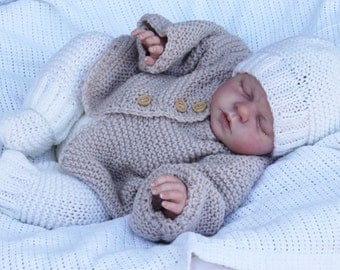 baby doll  reborn  knitting pattern for jacket pants hat and shoes prem to 4 yrs
