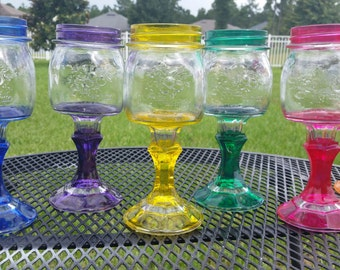 Raised Flower Mason Jar Wine Glass - Choose your color -Weddings - Bachelorette Parties and baby showers