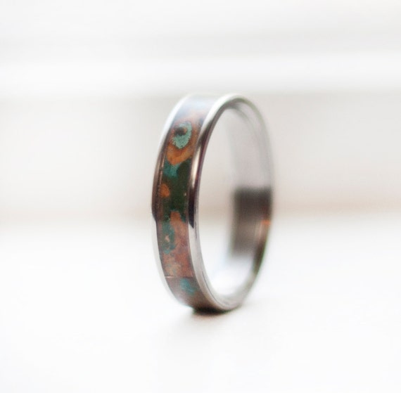 mens wedding band patina copper inlay ring staghead designs