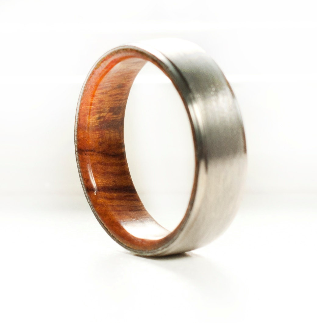 Wood Mens Wedding Bands: Men's Wedding Band Wood Lined Ring Staghead Designs