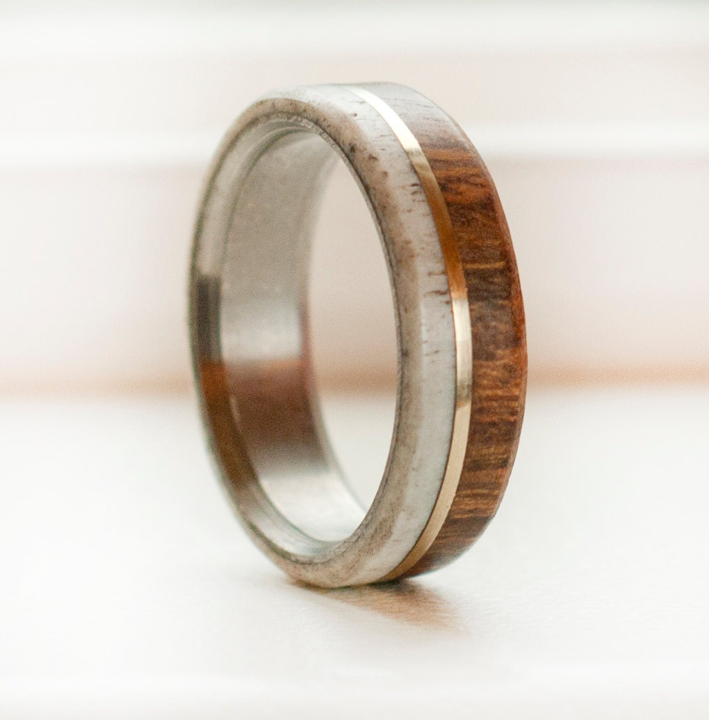 wood and antler mens wedding band with gold by stagheaddesigns