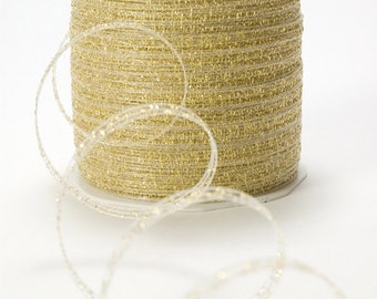 "1/4"" Woven Sparkling Metallic String Ribbon, GOLD"