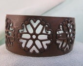 vintage copper cuff, adjustable, snow-flakes and hearts design, vintage jewelry
