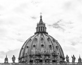 Rome Photography Vatican City St.Peter's Sq - Black & White - Italy - Rome Print Art - Monochromatic - Architectural - Christmas Gift