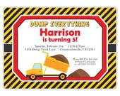 Construction Invitation -  Yellow Black Stripe, Little Orange Dump Truck Vehicle Personalized Birthday Party Invite - Digital Printable File