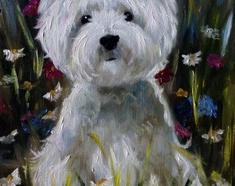 PRINT Westie West Highland Terrier Dog Art by Mary Sparrow Custom Pet portraits Wildflowers