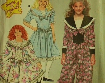 Dress & Romper by Made in Heaven -1990's - Simplicity Pattern 7587 Uncut Girls Size 7-8-10  Breast 26-27-28.5""