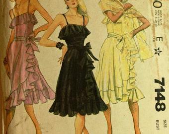 """Dress, Sash & Shawl by Bob Mackie - 1980's - McCall's Pattern 7148 Uncut  Size 12  Bust 34"""""""
