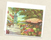 Flowers Notecard Vintage European Street Painting on Greeting Card by River Spring Architecture France