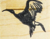 Heron Bird Rubber Stamp Carved Wood Mount Destash Art and Craft Supplies Scrapbooking Collage Stamping Supply Good Stamps Stamp Goods