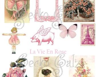 La Vie En Rose Digital Collage Sheet