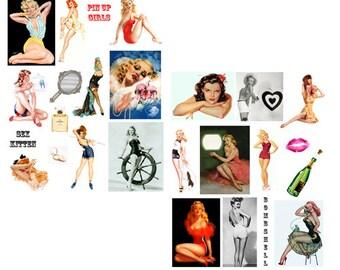 SALE****Pin Up Girls Digital Collage Set****SALE
