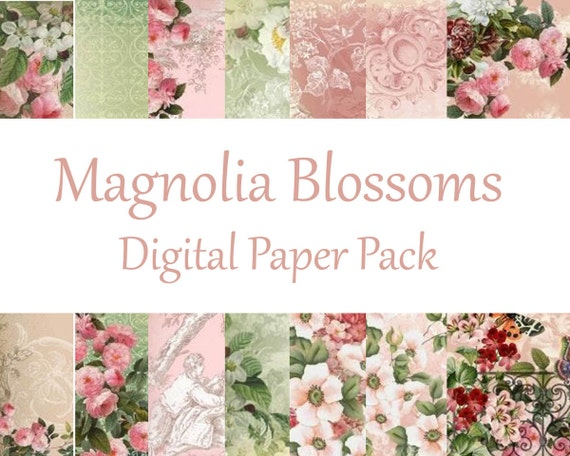 Magnolia Blossoms Digital Mini Paper Pack