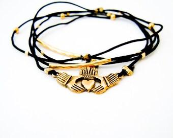 Irish Claddagh Gold Bracelet, Black Bracelet Set, Gold Claddagh Charm, Gold Bracelet, Irish Jewelry