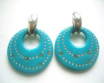 Large Donut Earrings Turquoise Blue & Silver Lucite Resin Post Earrings MOD