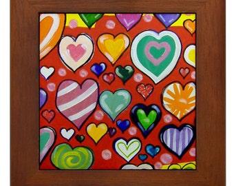"Mexican Folk Art- ""Hearts"" - FRAMED TILE By Artist A.V.Aposte"