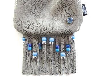 LoopyQ Silver Wedding Cake Blue Aquamarine Gemstone Rainbow Kandi Fringe Medicine Pouch, Hip Bag, CrossBody Satchel with Baby Blue String