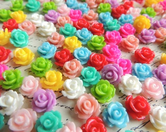 500 resin flower cabochons mixed colors