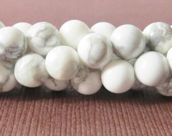 White Howlite 6mm Semi Precious Gemstone Smooth Rounds, Full Strand