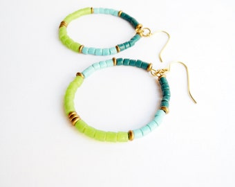 Eco Earrings, Blue and Green Eco Friendly Recycled Glass Beaded Hoop Earrings, African Glass and Brass Jewelry