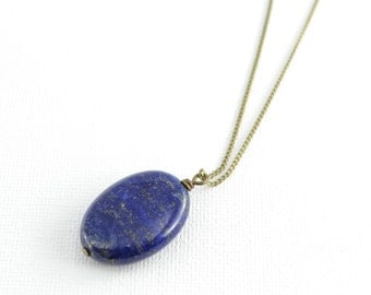 Boho style lapis lazuli necklace. Long simple necklace