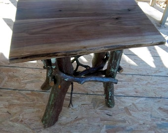 Rustic Handmade End Table Log Cabin Adirondack Furniture by J. Wade, walnut accent side table