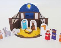 PRINTABLE CHRISTMAS Nativity Set - Instant Download - Christmas Craft Printable. Nativity scene. Xmas printable.
