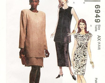 Sz 4/6/8 - McCalls Dress Pattern 6949 - Misses' Dress in Two Lengths and Unlined Jacket