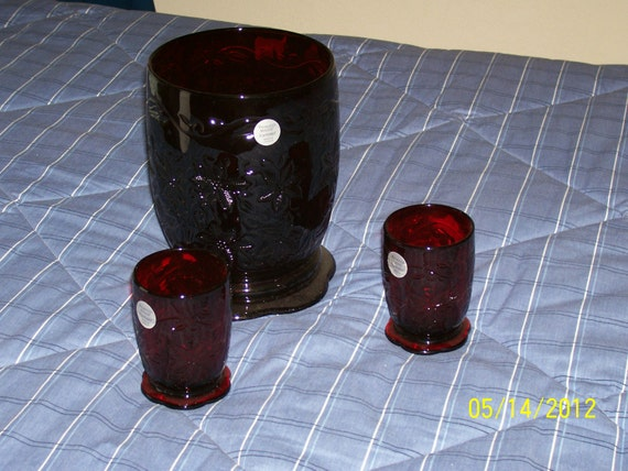 Princess House Fantasia Ruby Red Candle Holders One Large And
