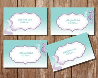 Mermaid Tent Cards, Food Labels, Buffet Cards, Food Tags, Labels - Instantly Downloadable File