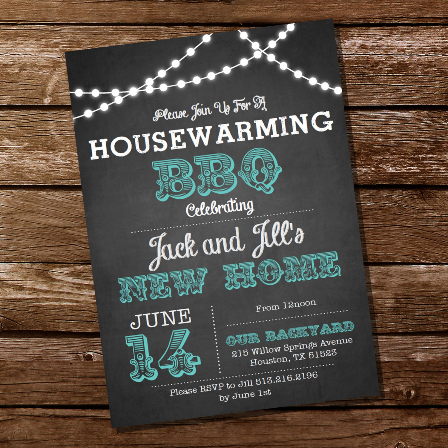chalkboard housewarming bbq invitation housewarming party