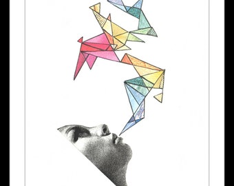 """Colour Art Print: """"Painting With Words"""" - Print of an original collage featuring a woman painting a triangular pattern with her words. A5"""