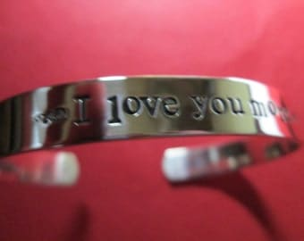 "Solid sterling silver "" I Love You More  ""not plated""   Love you more bracelet"