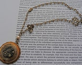 Shabby chic vintage faux pearls, metal button repurposed beauty necklace