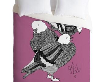 Purple Pigeons Duvet Cover / Twin, King Queen Size Duvet / Pigeon Blanket / Pigeon Duvet / Kids Room Blanket / Birds Bedding / NYC / Get Fat