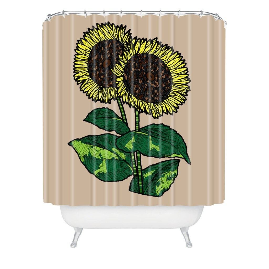 sunflower shower curtain sunflower shower by. Black Bedroom Furniture Sets. Home Design Ideas