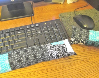 Keyboard Wrist Rest, Turquoise and black Mouse Wrist Rest