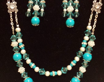 Turquoise and Silver Necklace and Earring Set, Bead and Chain