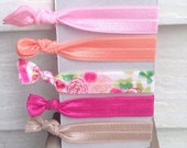 No snag hair ties - Pink floral