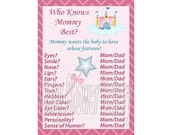 Princess Baby Shower Game, Princess Theme Baby Shower Game, Who Knows Mommy Best, Printable Baby Girl Shower Game, Instant Download Game