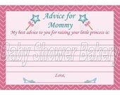 Princess Theme Baby Shower Game, Baby Princess Shower Game, Advice for Mom Printable, Instant Download Girl Baby Shower Game Princess Shower