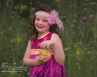 Couture Pink Fabric Flower Lace Headbandwith Feathers Newborn and Child Prop Vintage Inspired