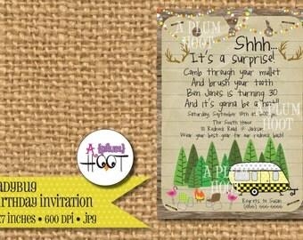 Redneck Bash Birthday Party Invitation (Personalized, DIY, 5X7 Printable)