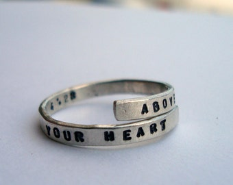 Proverbs 4:23 handstamped Silver quote 'Above all else guard your heart' Sterling Silver 925 -Adjustable