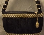 VINTAGE Black Crocheted Box Type Purse with Pearls and Threading     CLEARANCE