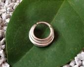 Argentium Silver 3 Ring Septum Jewelry 16g