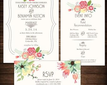Wedding Invitation - DIY Printable Cream Floral